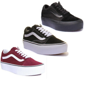 91df42dc28eb4b Vans Old Skool Platform Women Suede Canvas Black White Trainers Size ...