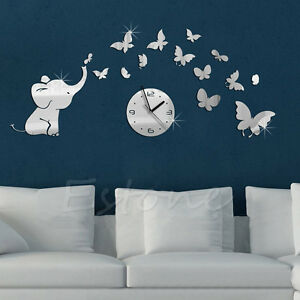 Elegant Image Is Loading 3D DIY Elephants Butterflies Mirror Wall Decal Wall  Images