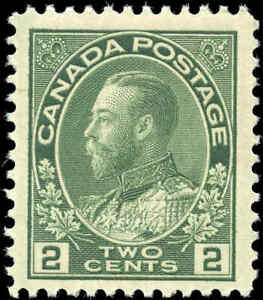 Mint-NH-1923-Canada-F-Scott-107e-2c-King-George-V-Admiral-Stamp
