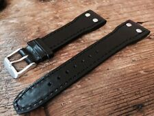 22mm Black IWC Style Pilot / Flieger Leather Strap