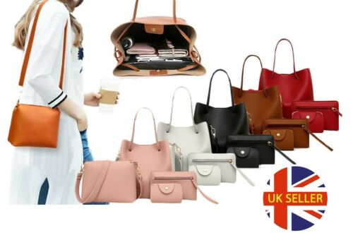 4 Pieces Set Fashion Ladies Women Matching Handbag Shoulder Tote Purse Satchel
