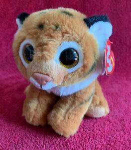 "TY Beanie Babies TIGGS Brown Tiger Sparkle Eyes VelveTy 6"" Soft Plush 2016 MWMT"
