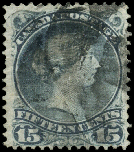Canada #30 used F 1868 Queen Victoria 15c grey violet Large Queen Fancy Cork can