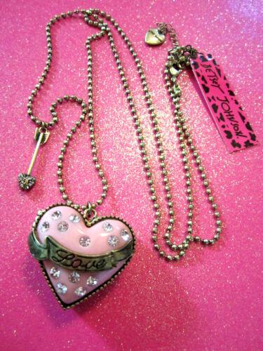 Betsey Johnson Crystal Pink Heart Locket Necklace