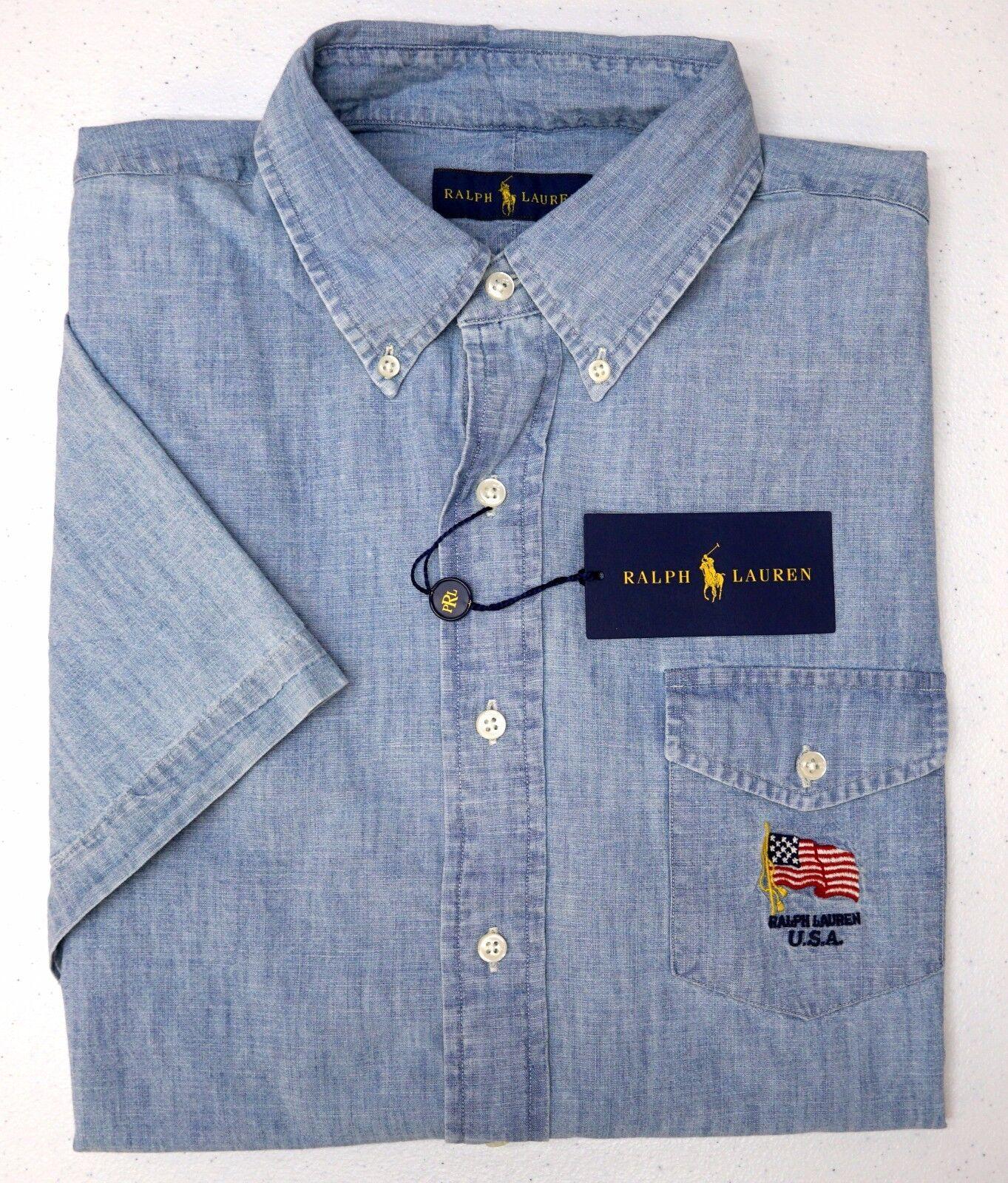 NWT  Polo Ralph Lauren bluee Shirt Mens Short Sleeve NEW Flag Embroidery