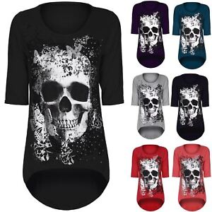 Women-Skull-Butterfly-floral-Dip-Hem-Ladies-3-4-Sleeve-Hi-Lo-Tunic-Top-Plus-Size