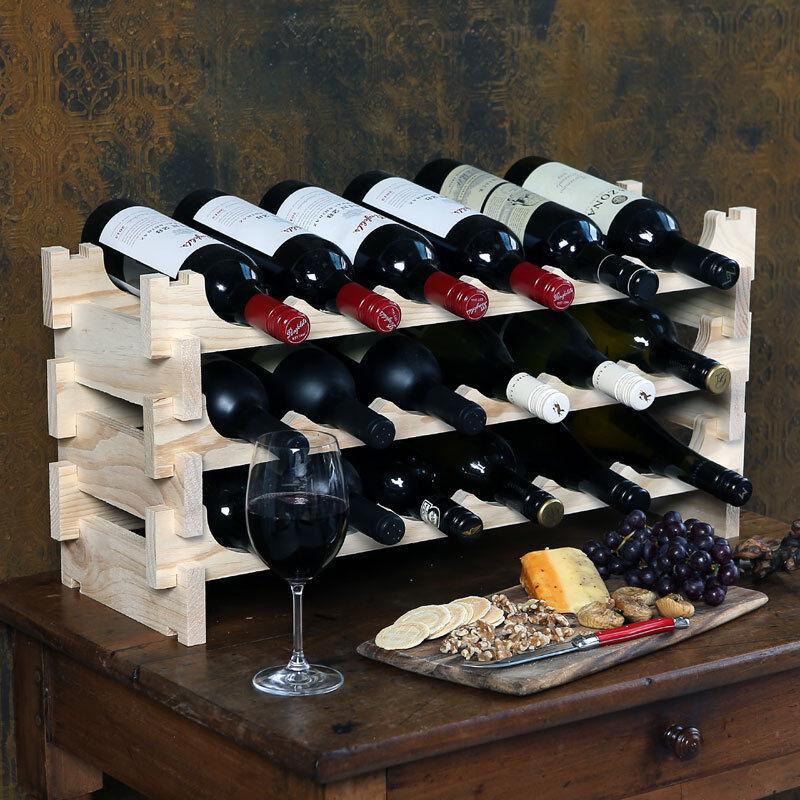 Vinrack 18 bottiglie legno vino rack-PINO NATURALE