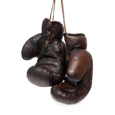 VINTAGE BROWN LEATHER BOXING GYM GLOVES,SHINE PAD,HEAD GUARD  /& FITTING