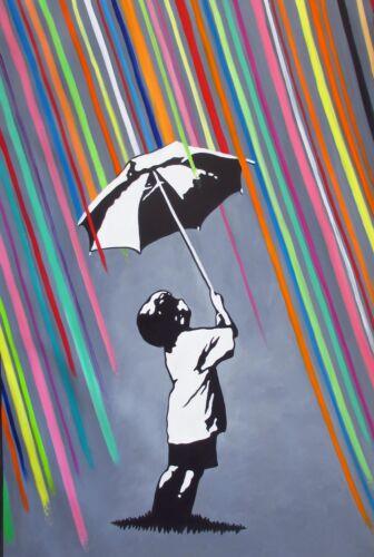 Art  Painting Canvas Banksy Street rainbow rain  80cm x 50cm Australia original