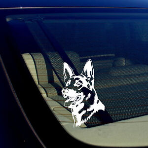 German-Shepherd-Dog-Decal-WHITE-5-034-x3-034-K9-Dog-Vinyl-Window-Sticker-Mod3323