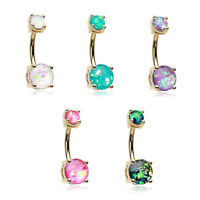 Golden Opal Sparkle Belly Button Ring