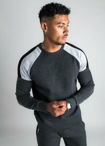 Gym-King-Mens-Long-Sleeve-Crew-Neck-Fleece-Sweatshirt-Charcoal-Marl-Grey-Marl