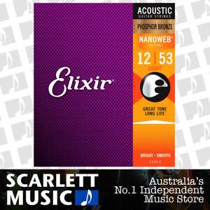 2x Elixir 16052 Nanoweb Phosphor Bronze Light 12-53 Acoustic Guitar Strings