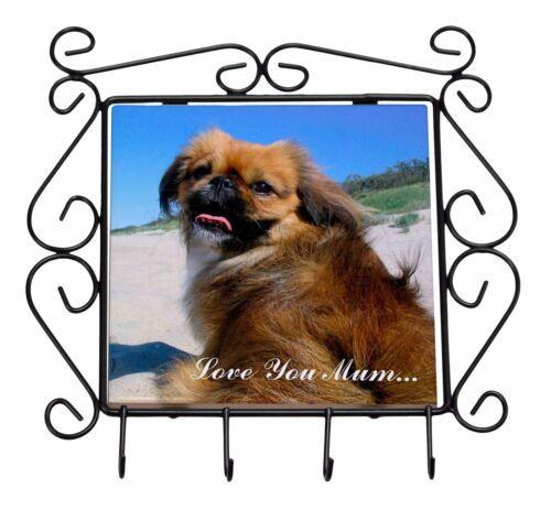 Pekingese Dog /'Love You Mum/' Wrought Iron Key Holder Hooks Christm AD-PE90lymKH