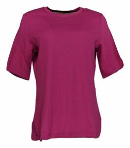 Isaac-Mizrahi-Live-Women-039-s-Top-Sz-M-Essentials-Elbow-Sleeve-Pink-A306543