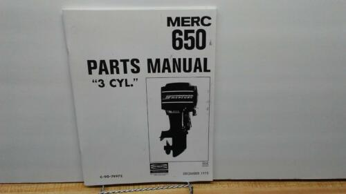 1975 Mercury 650 Outboard Motor Parts Manual 65 HP 3 Cyl