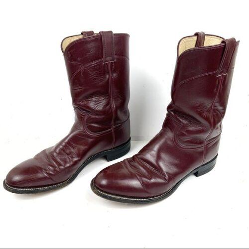 Justin Boots #3037 Tan Kiddie Burgundy Red Ropers