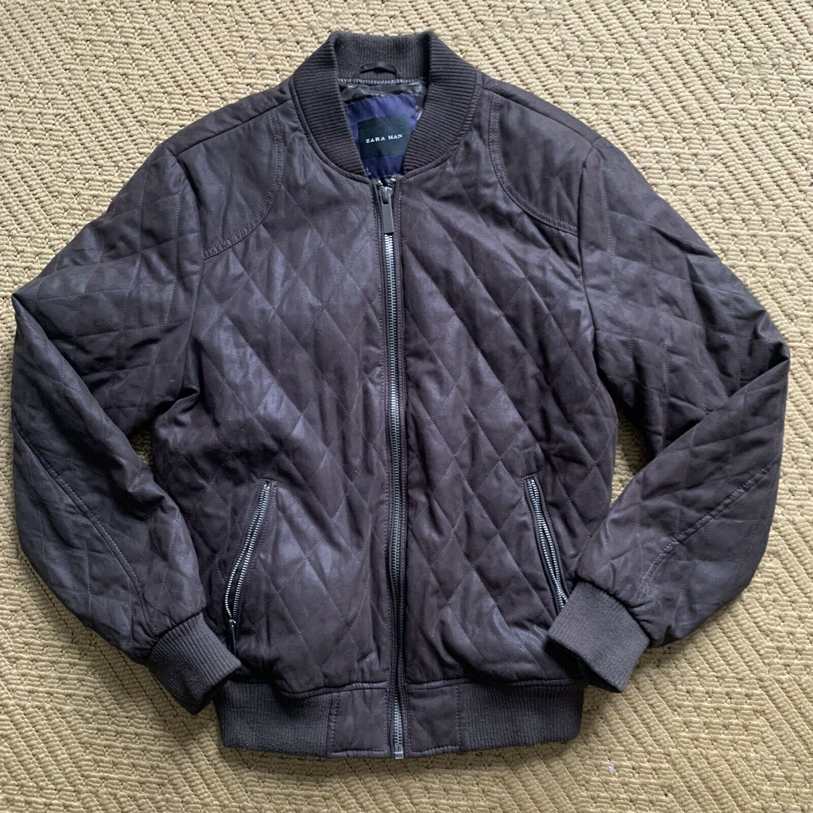 Zara Mens Quilted Bomber Jacket Chocolate braun Faux Leather L