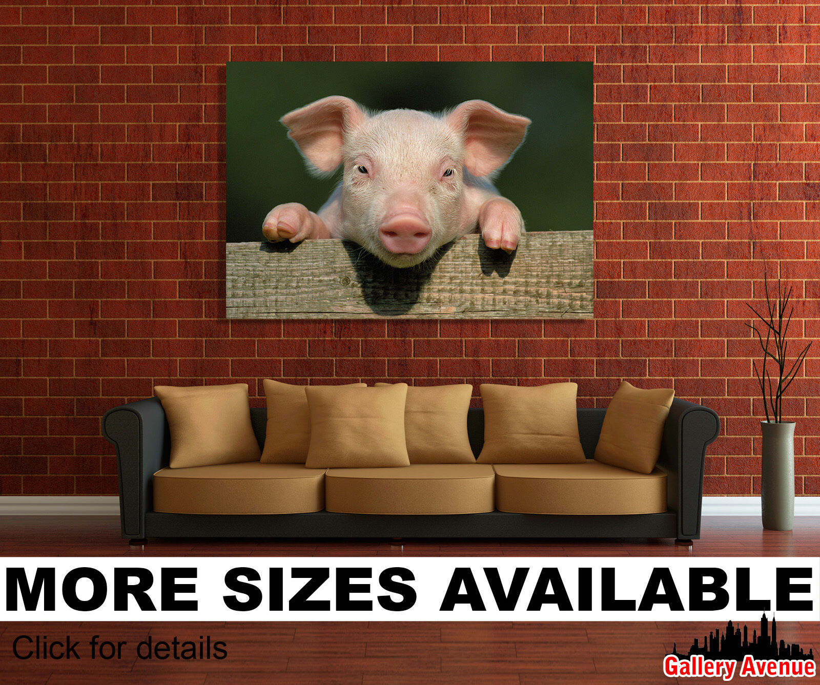 Wall Art Canvas Picture Print - Cute Funny Little Pig, Piglet 3 3.2