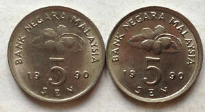 Second-Series-5-sen-coin-1990-2-pcs