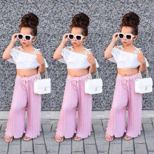 Lace-Kids-Toddler-Baby-Girl-Off-Shoulder-Crop-Tops-Long-Pants-Outfit-Clothes-xiu