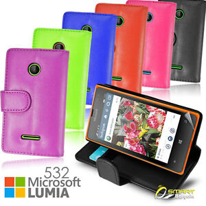 buy online e494e bca0e Details about Wallet Flip Leather Stand Case Cover for Microsoft Nokia  Lumia 532 + Screen Gud