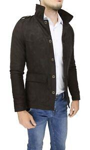 Diamond-cappotto-giacca-uomo-scamosciato-marrone-slim-fit-giubbotto-trench