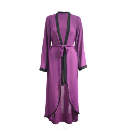 New Womens Ladies Dubai Style Hi Lo Lace Front Open Front Abaya Kimono Cardigan