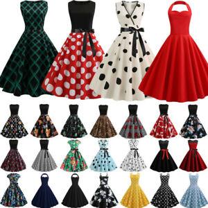 Details zu Damen Rockabilly Petticoat Gepunktet Sommer 50er 60er Jahre Vintage Party Kleid