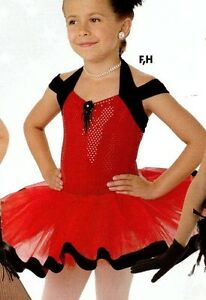 NWOT-Velvet-strap-Red-foil-dot-leotard-with-Red-Tutu-small-ch-Ballerina-costume