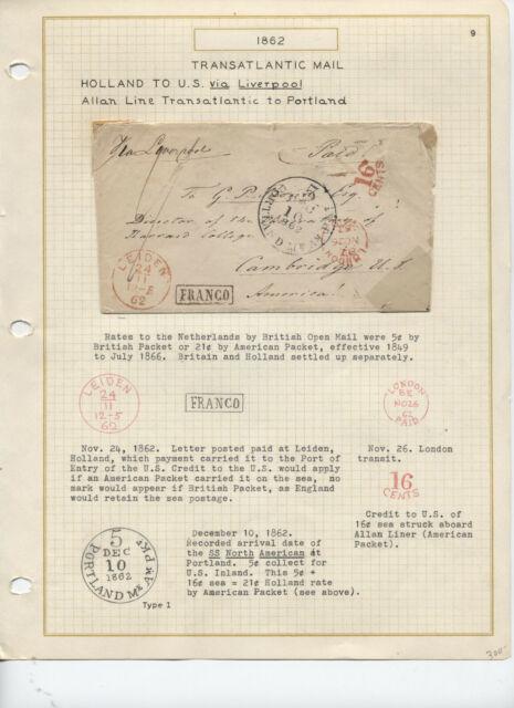 1862 Netherlands to US transatlantic via Allan Line Portland ME [RF.168]
