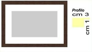 Cornice in Noce in legno per foto,stampe,dipinti, - Spess.cm 3 con passepartout
