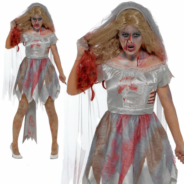 Onorevoli INSTANT MORTO ZOMBIE Bride Veil HALLOWEEN FANCY DRESS COSTUME OUTFIT KIT