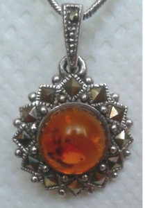 Beautiful-Amber-Pendant-set-with-Marcasite-in-Sterling-Silver-with-chain
