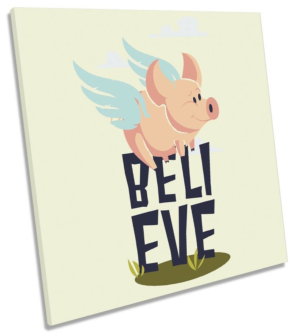 Believe Flying Pig Picture CANVAS WALL ART Square Print