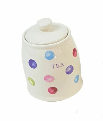 SET OF 2 PRINTED SPOTS DOTS BLUE ROUND CERAMIC TEA COFFEE STORAGE CANISTER JARS