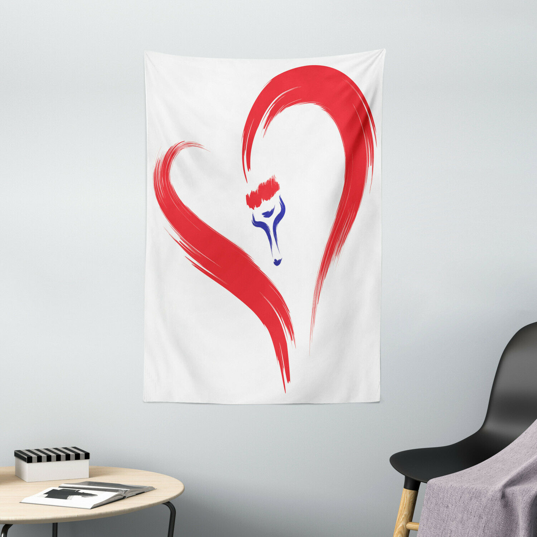 Liebe Wandbehang Pinsel Zeichnung Herzschild Seidiges Satin Farbenforh Gemustert