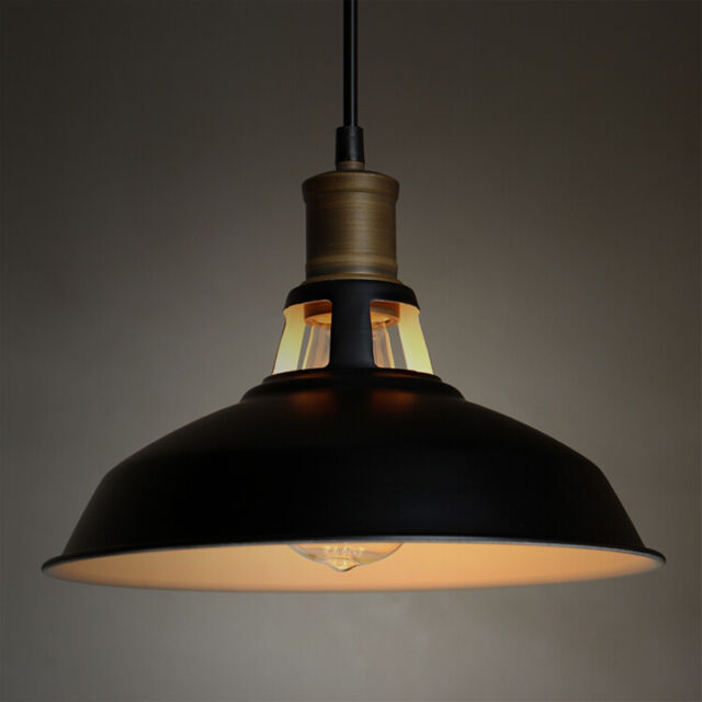 Vintage Lighting Antique Barn Hanging Pendant Light With Metal Dome