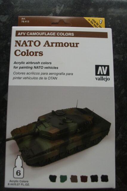 Vallejo 6x8ml 78413 Armour Acrylic Model Air Paint Set - NATO Camouflage