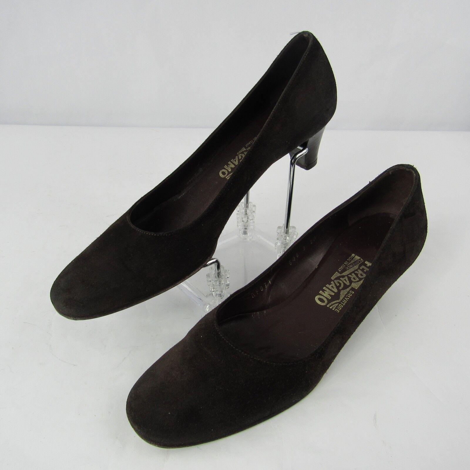 Salvatore Ferragamo Size 9 2A Narrow Suede Leather Heel Pumps shoes Brown