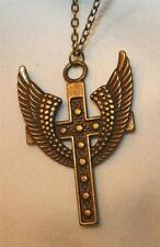 Lovely Metal Beaded Angel's Wings Brasstone Cross Pendant Necklace