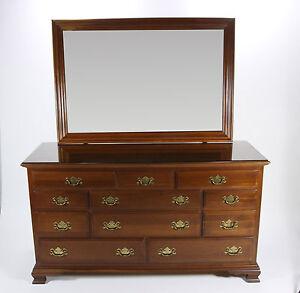 Ethan Allen Georgian Court Triple Dresser With Mirror In