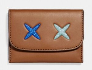 0c7218fa Details about NWT Coach F22957 Women's Brown Leather Glitter Cheeky Card  Case Mini Wallet $75