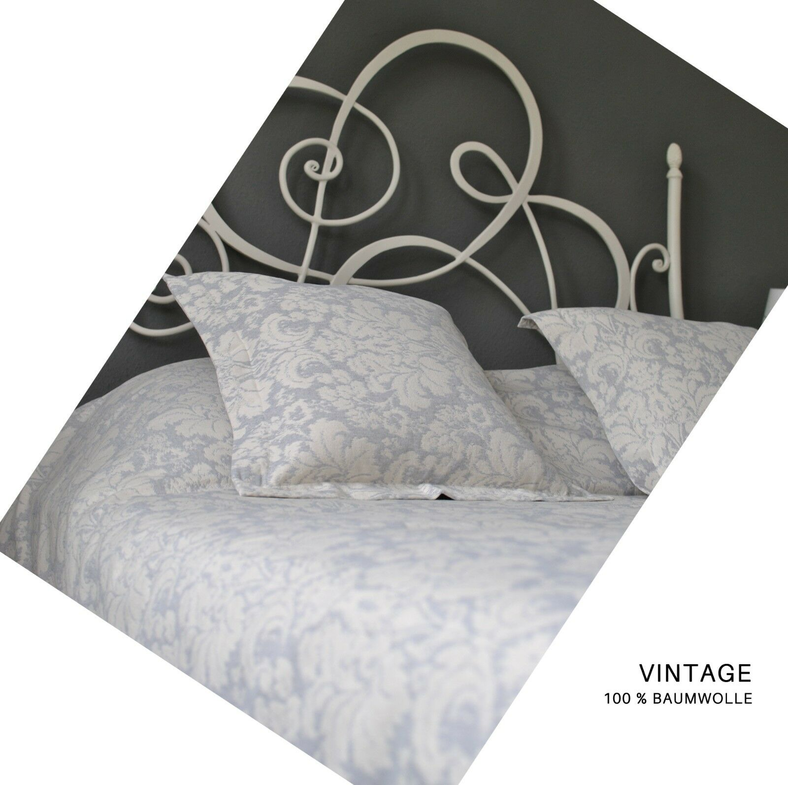 Vintage bettüberwürf Bedspread Grey-Cream *** NEW ***