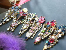 6xVINTAGE Nice GLASS Beautiful Rhinestones HAIRPINS LOT *COMBINE POSTAGE* Q270