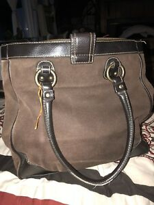 1e818c972c9 Details about Brown GAP Canvas With Leather Trim Large Tote Bag Purse 15 X  16
