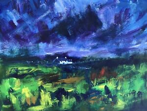 ORIGINAL-PAINTING-Acrylic-On-Canvas-Welsh-Cottage-40x30cm