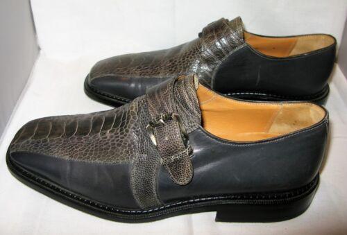 Huidleren Grijzezwarte Barcelino struisvogel gesp heren schoenen 9m Rj5A34L