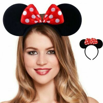 ** BLACK SOFT MOUSE EARS HEADBAND WITH RED BOW CHILDRENS ADULT FANCY DRESS NEW