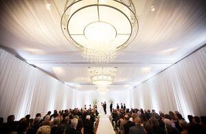 "2 VOILE CHIFFON SHEER WEDDING CURTAIN 9ft DRAPE PANEL BACKDROP 120/"" x 108/"" WHITE"